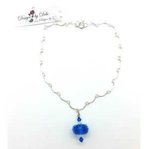 Blue Glass & Swarovski Crystal Scalloped Anklet
